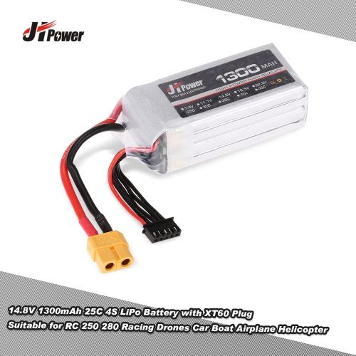 JHpower 14.8V 1300mAh 25C 4S LiPo Battery with XT60 Plug for RC 250 280 Racing Drones Car Boat Airplane Helicopter
