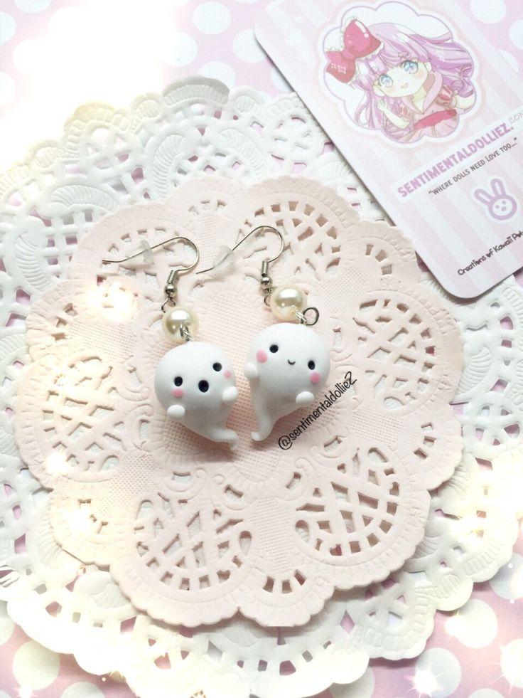 Kawaii Halloween Earrings, Halloween Jewelry, Spooky Ghost Earrings, Kawaii Polymer Clay Charms, Cute Ghost Earrings, White Accessories by SentimentalDollieZ on Etsy https://www.etsy.com/listing/162297752/kawaii-halloween-earrings-halloween