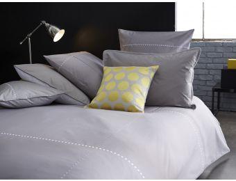 Linge de lit  - #gris #blanc - #brodé Parure de lit - linge de maison - housse de couette Percale de coton Blanc Cerise