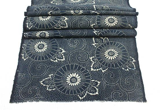 Vintage Japanese Katazome. Antique Indigo Stenciled Cotton