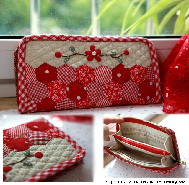 another great idea for those hexies!!  patchwork wallet/pouch                                                                                                                                                                                 Mais