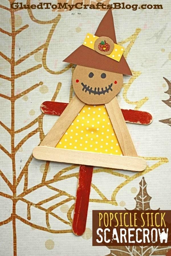 #gluedtomycrafts Craft Stick Scarecrow Puppet Friend – Kid Craft – Fall Art Project Idea