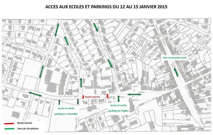 Pour la semaine du 11 au 18 janvier 2016, la rue sera fermée entre l'entrée du parking de la salle de la Charmille et la mairie.