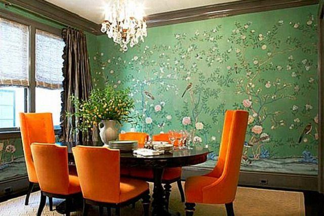 Зеленые обои в интерьере кухни и спальни, гостиной и детской: сочетание на фото…