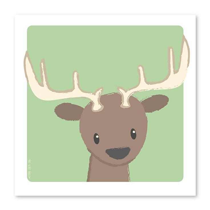 Poster Hert 21x21 cm. Het edelhert mag natuurlijk niet ontbreken in de collectie met bosdieren? Hang aan de muur in een lijstje of plak op met trendy washitape, daar word je toch helemaal vrolijk van! Ook leuk om op te hangen met een A4 posterhouder of op een klembord.