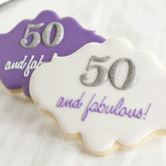 Personalized 50 and fabulous cookie favors.  See more planning a 50th birthday party ideas at www.one-stop-party-ideas.com