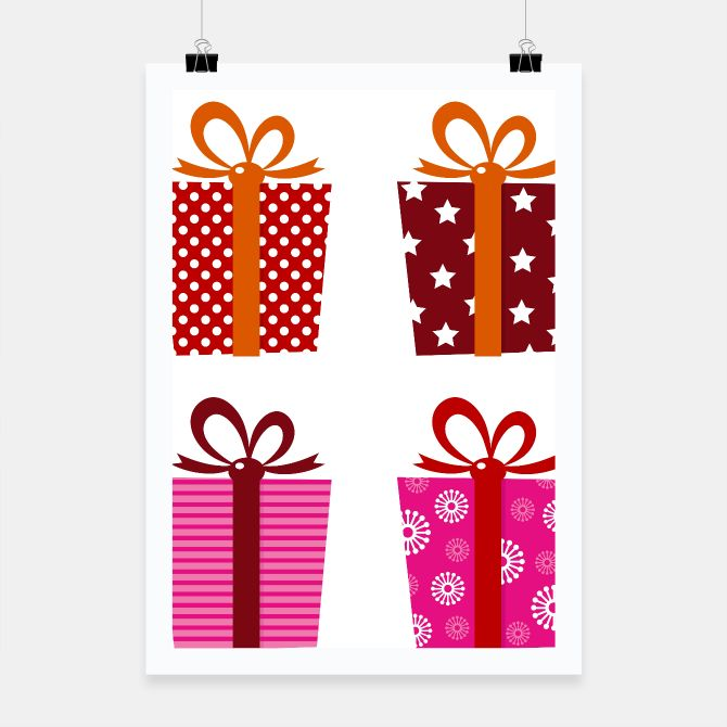 Poster with colorful Magical Gifts Retro