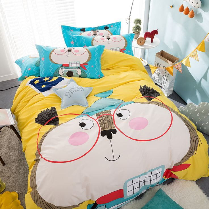 kids 100 cotton bed cartoon bedding duvet cover bed sheet pillowcase