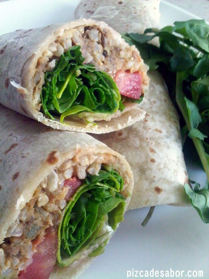 Wrap vegetariano de arroz integral y lentejas