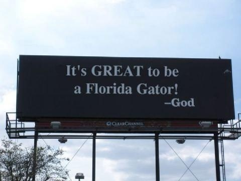 Of course God is a Gator because the sky is blue and the sun is orange :)
