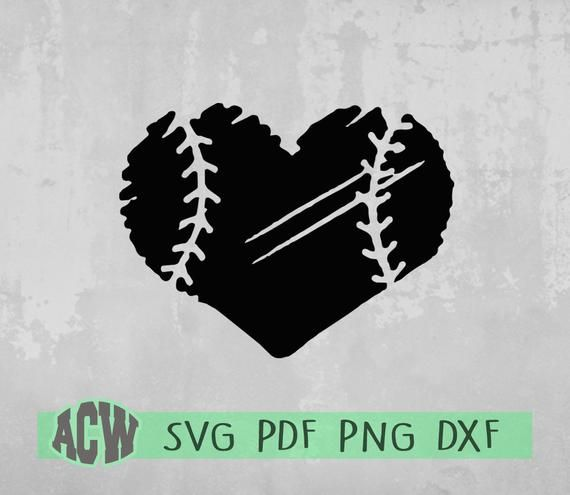 Baseball Heart Svg Distressed Heart Svg Sports File For