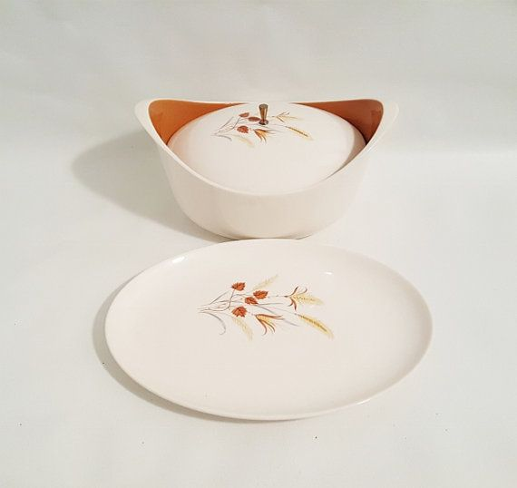 Vintage Covered Serving Bowl With Matched by slatternhouse5