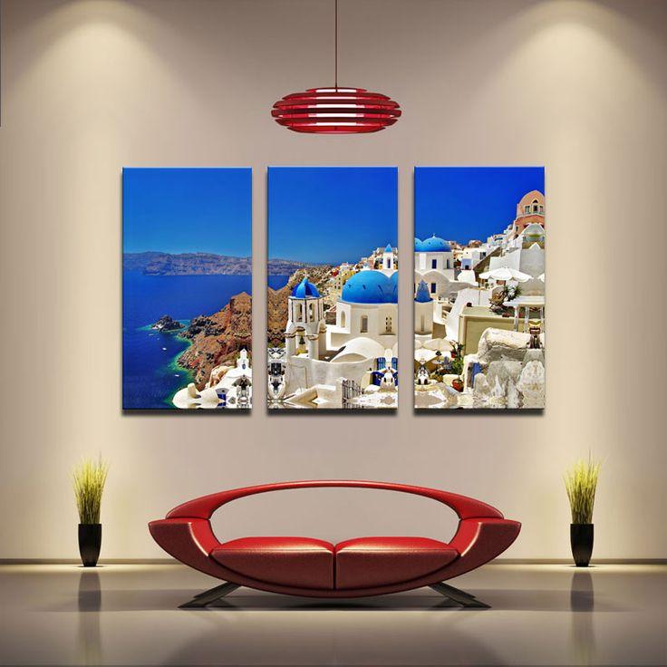 3 Picture Combination-Mediterranean - Blue Lagoon, Santorini, Greece - Metal Mural On Canvas Print Art Wall Sculpture Decor