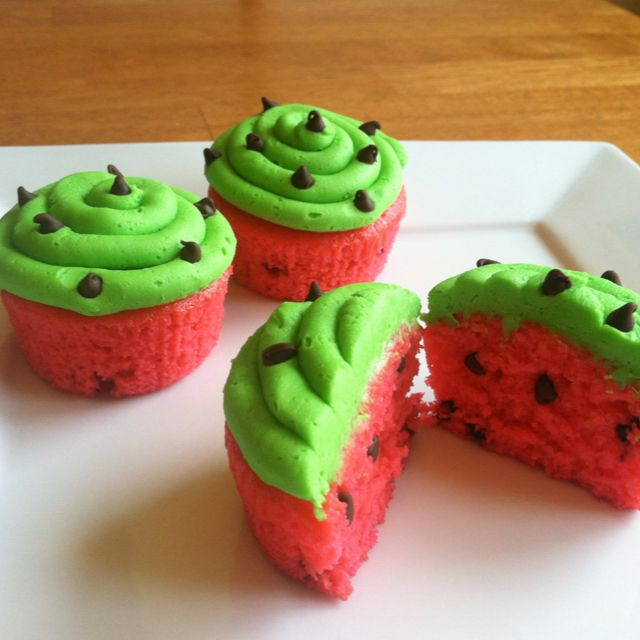 Watermelon cupcakes...  A simple chocolate chip cake recipe with some food coloring can be turned into these! so cute!