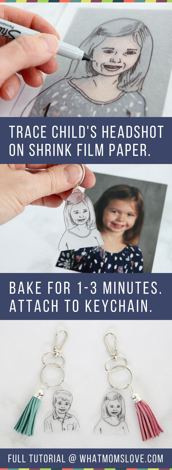 This easy to make Mother's Day or Father's Day craft for kids is the perfect homemade keepsake to give to mom, dad, grandma or grandpa. Use Shrinky Dinks to create a DIY initial and headshot keychain - they're simple to make but totally unique. Anyone can make them, from toddlers to teens. Makes a great last minute gift from the kids or grandkids for Mother's Day, Father's Day, Grandparents Day, birthdays or Christmas!