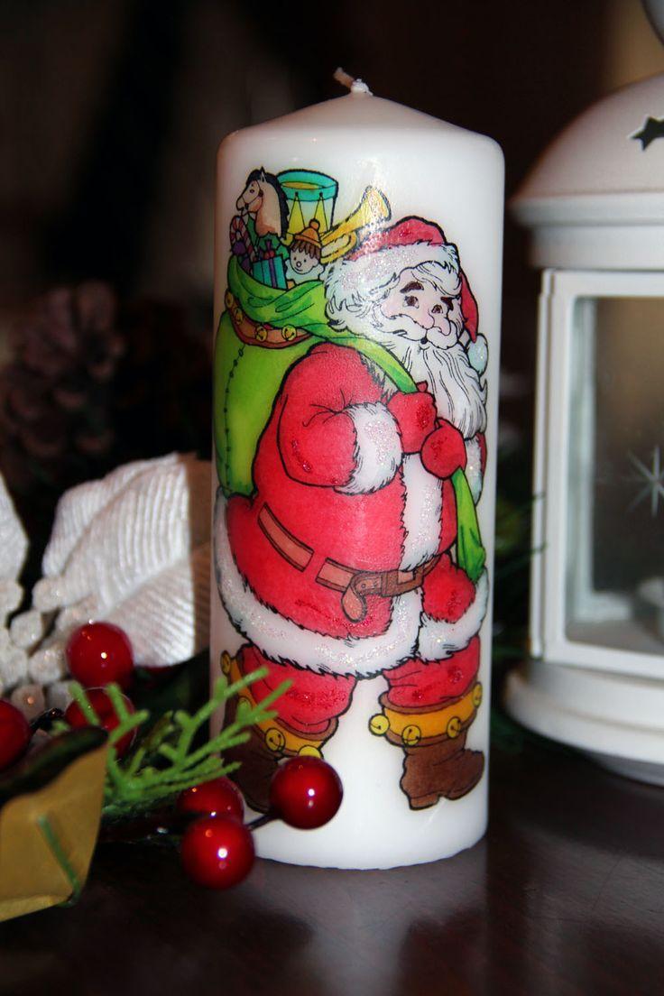 Candelina colorata a mano - babbo natale - christmas