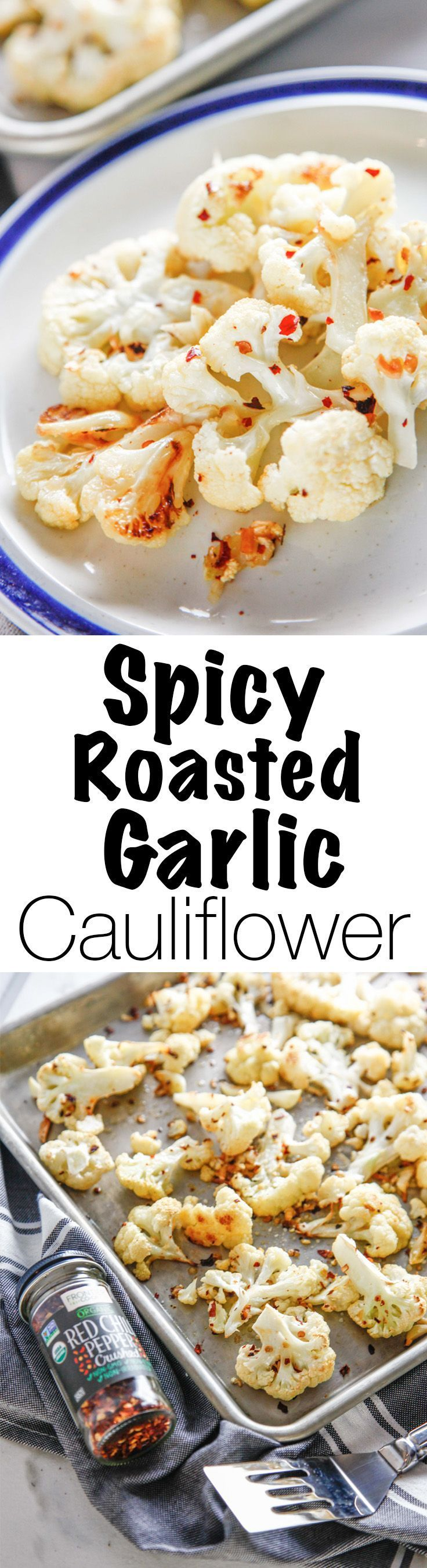 Cook with purpose with Frontier Co-op's Organic Red Pepper Flakes and make this delicious vegetable side dish. This Spicy Roasted Garlic Cauliflower is the perfect recipe for your dinner! Via @thebrooklyncook