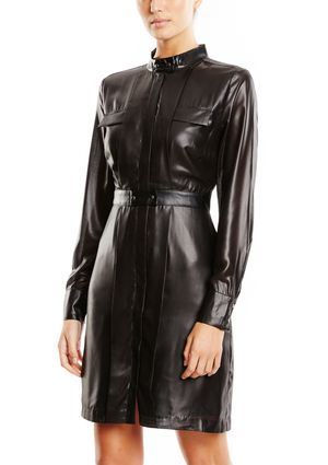 Black Faux Leather W118 BY WALTER BAKER Lydia Dress @ Ideel $100