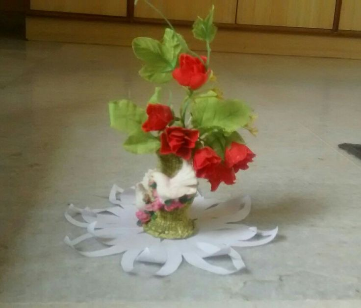 paper craft and flower pot.