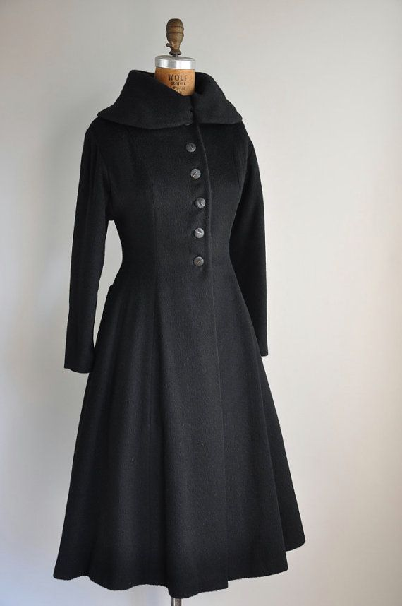 1950s black princess coat