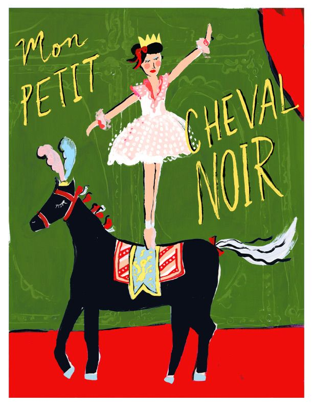 circus girl and little black horse illustration