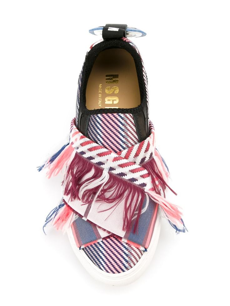 MSGM fringed appliqué slip-on sneakers
