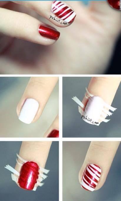 Salut les filles, voici un tuto nail art que j'aime particulièrement et qui est parfait pour Noël . Le principe est simple :: ∞ Mets une base ∞ Applique du vernis blanc ∞ Découpe de petites bandes de plusieurs tailles sur du scotch ∞ Mets-les sur tes...