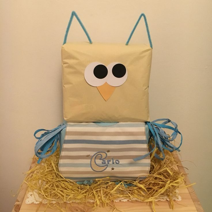 Diapers cake, owl, diaper, bib