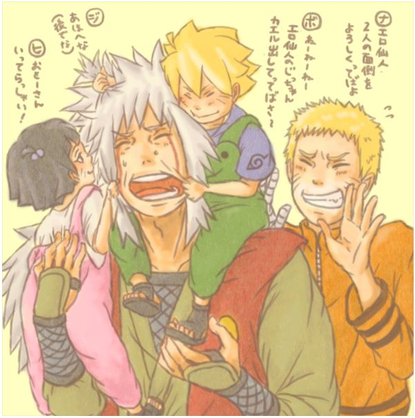 Jiraiya, Naruto, Bolt and Himawari