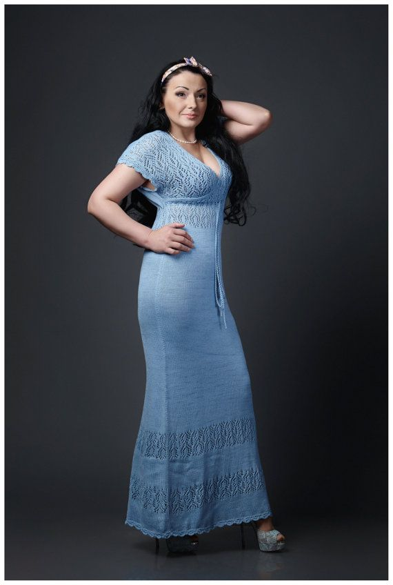 Maxi long light blue dress for summer knitted by GenuineWoolheart