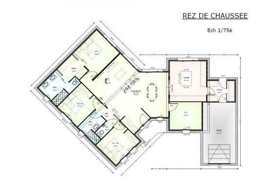 Plan achat maison neuve à construire - Maisons Bernard Jambert Avant-projet 130m² à Marillais ...