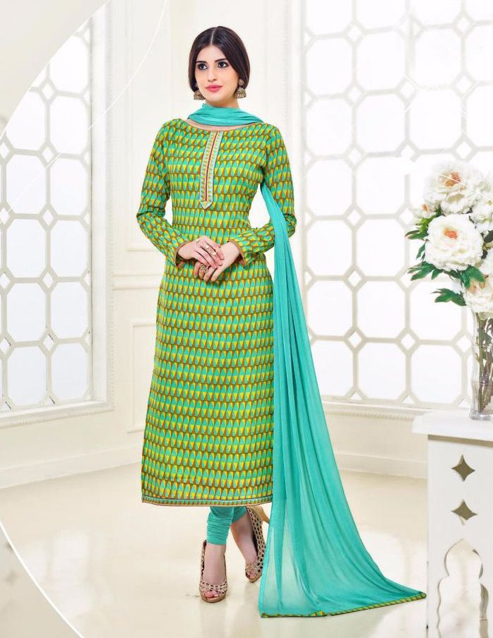 Buy Online Designer Printed Churidar Suit or shuits Turquoise Color, Cotton material, Chiffon Dupattas, Party Wear, Casual wear, Summer Wear, Festival Wear, Kitty Party Wear for women, Churidar Suits, Churidar suit, shuits for women. We have large range of Designer Printed Cotton Churidar suits in our website with the best pricing and unique designs shipping to (UK, USA, India, Germany, UAE, Canada, Singapore, Australia, Mauritius, New Zealand) world wide.