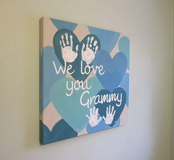 """Original, Custom, We love you, Handprint or Footprint Keepsake, 20x20"""" by SnowFlowerArts on Etsy"""