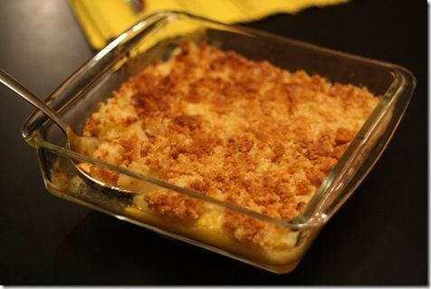 Pineapple casserole - 1/2 20 oz. can of crushed pineapple (drained; save the juice); 1 20 oz. can of chunky pineapple (drained; save the juice); 3 tbls flour; 1/4 cup sugar; 1 cup shredded cheddar cheese; 2 cups crumbled Ritz crackers (1 whole sleeve); 1/2 cup melted butter (1 stick)