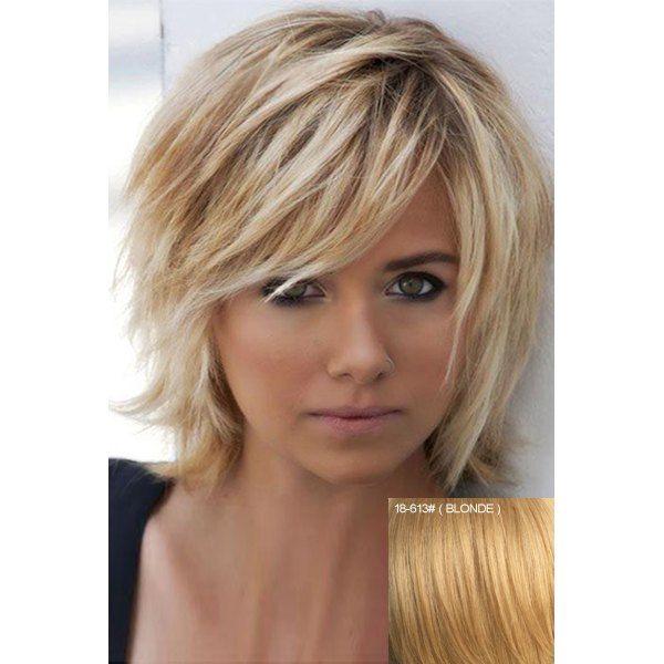 Elegant Fluffy Natural Wavy Side Bang Short Real Human Hair Capless Daily Wig For Women