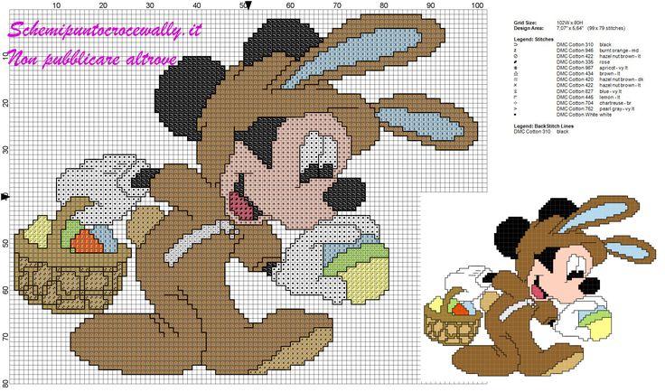 schema punto croce gratis per bambini Topolino con uova di pasqua