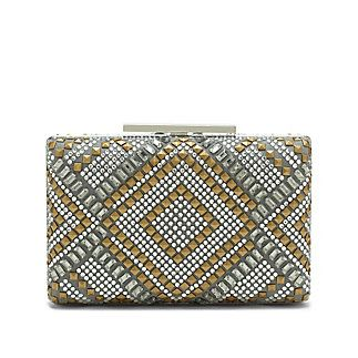 "Love Minaudière-A fitting name for such a delightful treasure, the luminous Love Minaudiere is a desirable compact clutch with a glamourous diamond print done up in light-catching crystals. Make your next fête unforgettable with this purse by your side.  %0D%0A<li> 4"""" H x 6.25"""" W x 1.5"""" D%0D%0A<li> Shoulder strap drop: 21""%0D%0A<li> Push Lock closure"