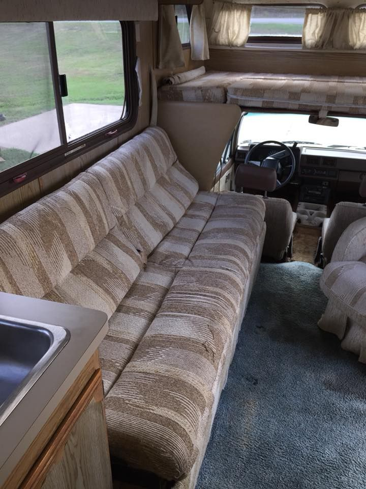 Sofa Back Flips Over To Form Sleeping For Two Persons Sofa Toyota Motorhome Decor