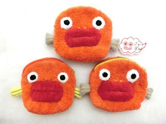 今治タオルのポーチ★オレンジのおさかな ポーチ ぷかぽか ハンドメイド通販・販売のCreema