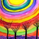 Väriteoria (kertausta) - sateenkaaren värit taivaalle, värin sekaittaminen, pää- ja välivärit, puhtaat värit, puut tms. siluettina.