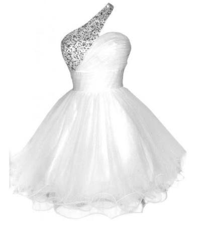 junior graduation White one shoulder puffy tutu formal prom homecoming plus size 2015 trendy dress