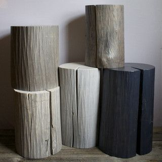 """Harvested from a solid log found in the Vermont woods! Our 18"""" stump works as a seat or coffee table. The 24"""" stump can be used as an end table or pedestal. - Style #: FUR17, FUR18 - Comes in 18"""" and"""