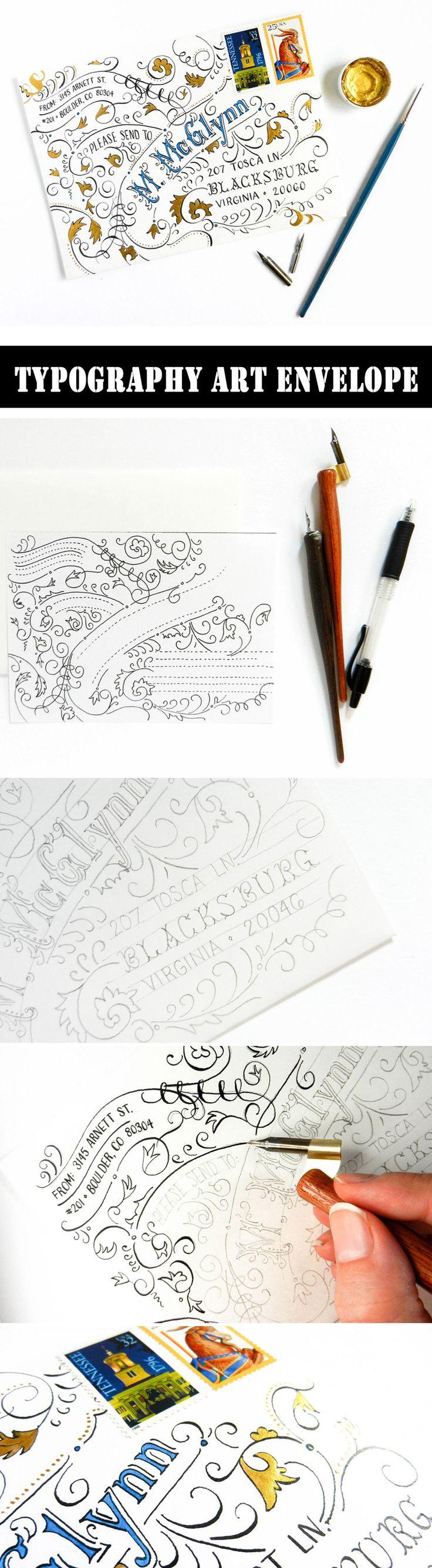 Typography Art Envelope Tutorial  #typography  #handlettering  #tutorial    https://thepostmansknock.com/typography-art-envelope-tutorial/