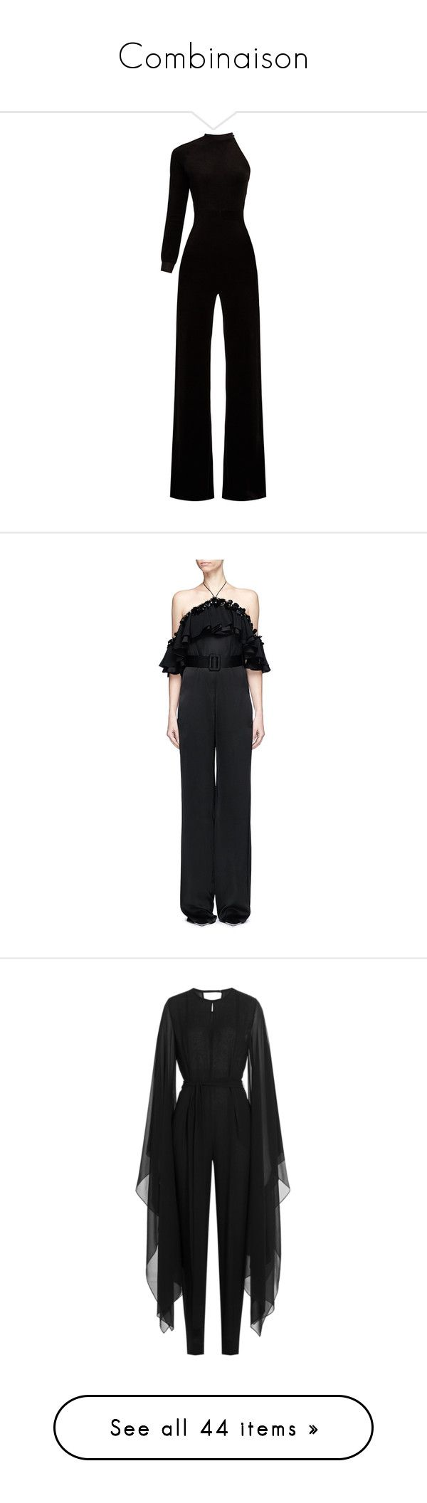 """Combinaison"" by doratemplam ❤ liked on Polyvore featuring jumpsuits, dresses, black, vetements, one sleeve jumpsuit, flare leg jumpsuit, high neck jumpsuit, jump suit, velour jumpsuit and satin halter top"