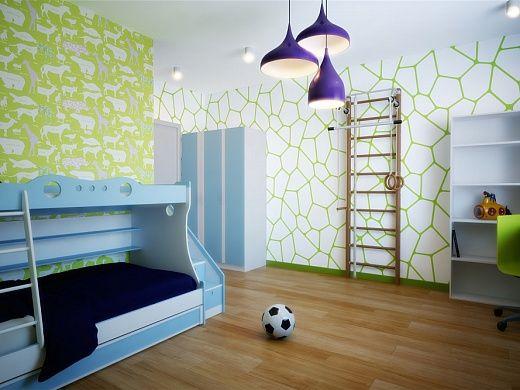 Детская комната, рассчитанная на двоих активных детей, сделана ярко и практично. У окна установлен большой письменный стол с экологически чистым матовым лаковым покрытием. У одной из стен закреплена шведская стенка для спортивных занятий. Для сна – двухъярусная кровать с приставной лестницей и выдвижными ящиками. На стенах – обои в бело-салатовой гамме, окна задекорированы синими шторами.