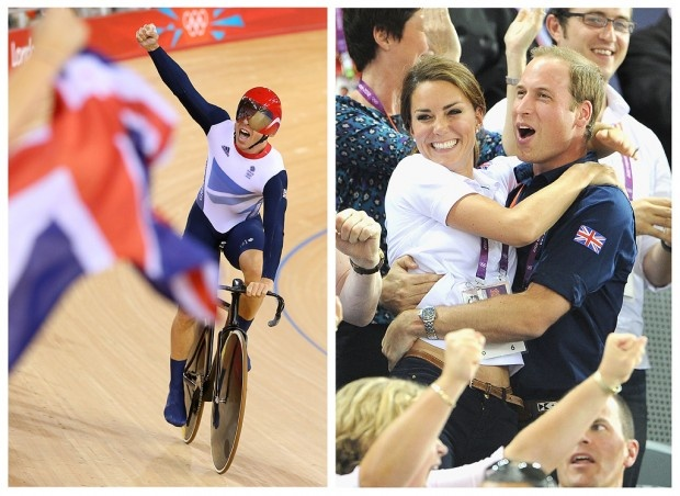 Sir Chris Hoy takes a victory lap around the velodrome track after setting a world record in the men's team sprint track cycling event on Aug. 2 as Will and Kate celebrate another stellar track performance by Team GB.