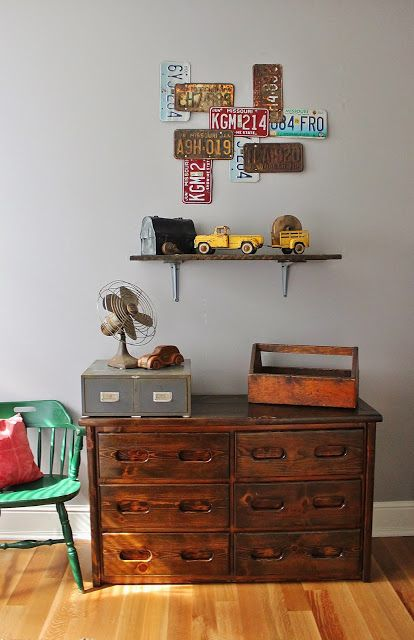 Namely Original: Boy's Vintage Car Bedroom Love the weathered tool box