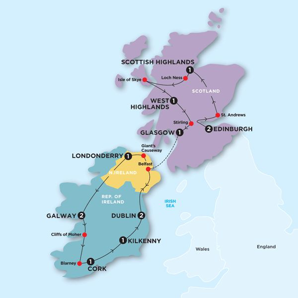 Tour Map  Scotland and Ireland | travel in 2019 | Ireland