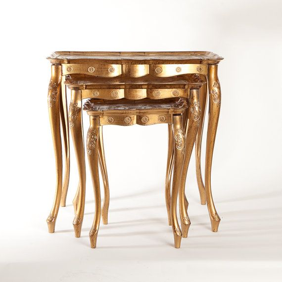 Set of 3 Italian Florentine Gold Toile Nesting Tables by EstyElle, $325.00....we sooo had these in our living room growing up...I think my mom still has them :)