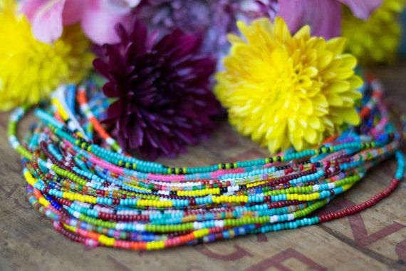 Glass Seed Bead Strand Necklaces by BuffaloLucy #beads #necklace #layeringnecklaces #color